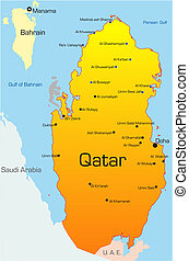 Abstract vector color map of Qatar country