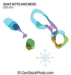 Abstract vector color map of Saint Kitts and Nevis
