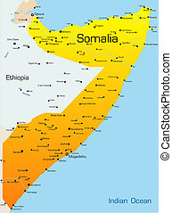 Abstract vector color map of Somalia