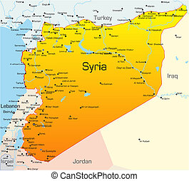 Syria country - Abstract vector color map of Syria country