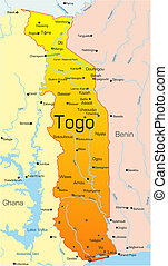 Togo  - Abstract vector color map of Togo country