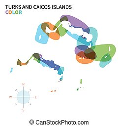 Abstract vector color map of Turks and Caicos Islands with...