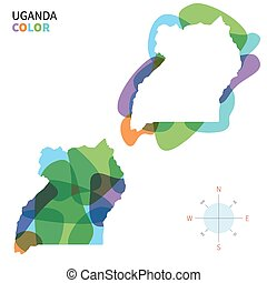 Abstract vector color map of Uganda
