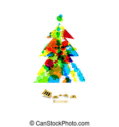 Abstract Vector Colorful Christmas Tree Made From Splashes, Blots