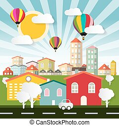 Abstract Vector Colorful City - Town Flat Design Illustration with Balloons Houses Car with Street and Paper Cut Trees