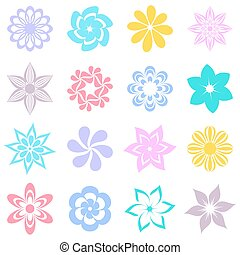 Abstract vector colorful flower icons