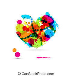 Abstract Vector Colorful Heart Made From Splashes, Blots