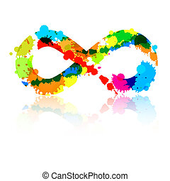 Abstract Vector Colorful Infinity Symbol Made From Splashes, Blots
