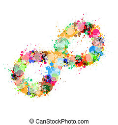 Abstract Vector Colorful Stain, Splash Infinity Symbol...