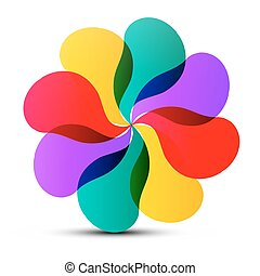 Abstract Vector Colorful Transparent Flower Shape Isolated on White Background