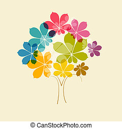 Abstract Vector Colorful Tree on Old Paper Background
