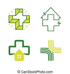 Abstract vector cross logos collection. Unusual isolated logo set.