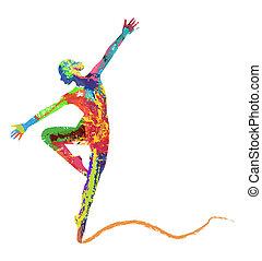 dancing girl - abstract vector dancing girl
