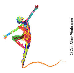 abstract vector dancing girl