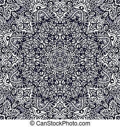 Abstract vector decorative ethnic hand drawn sketchy contour line art seamless pattern