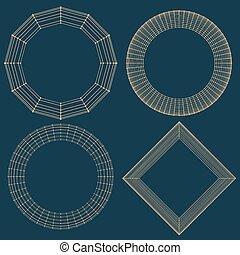Abstract vector decorative frame. Mesh poligonal. Molecular lattice. The structural grid of polygons.
