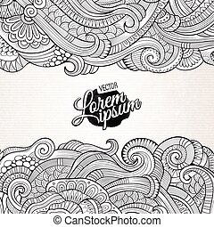 Abstract vector decorative nature background. Template frame...