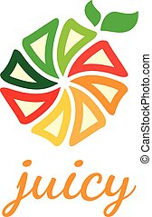 Abstract vector design template of juicy fruit with leaf