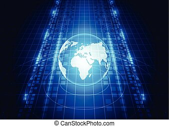 abstract vector digital global network technology background