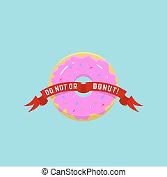 Abstract Vector Donut Illustration or Logo in Flat Style and Bright Colors.