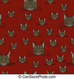 abstract vector doodle cat face seamless pattern