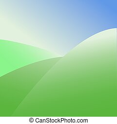 Abstract vector graphic green hills on the background of the blue sky