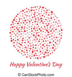 Abstract Vector Elegant Circle Sphere Round with small red Hearts for Valentines Day card Background Design. Wedding Invitation Card. Logo emblem for health care, medical, treatment.