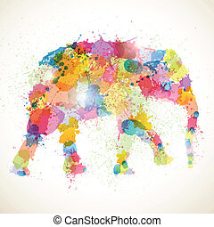 Abstract Vector Elephant - Vector Illustration of an...