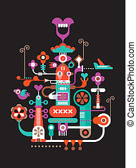 Abstract vector figure composition