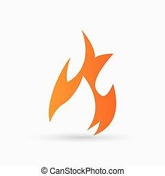 abstract vector Fire Icon orange