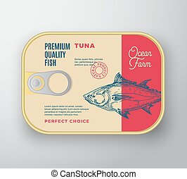 Abstract Vector Fish Aluminium Container with Label Cover. Retro Premium Canned Packaging Design. Modern Typography and Hand Drawn Tuna Silhouette Background Layout.