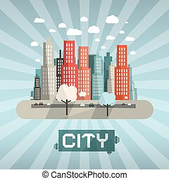 Abstract Vector Flat Design City
