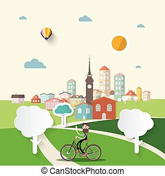 Abstract Vector Flat Design City with Man on Bicycle.