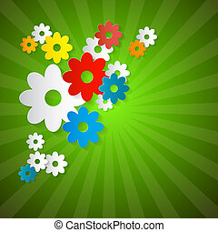 Abstract Vector Flowers Cut From Paper on Green Background