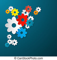Abstract Vector Flowers Cut From Paper on Blue Background