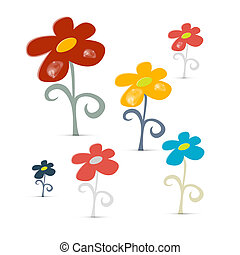 Abstract Vector Flowers Isolated on White Background
