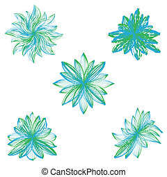 Abstract vector flowers on white background.