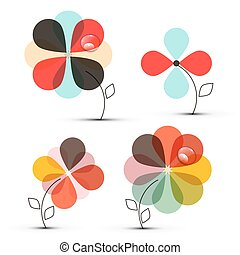 Abstract Vector Flowers Set