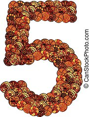 abstract vector font, made of ethnic elements - number five