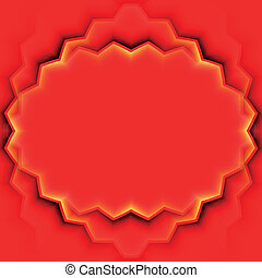 Abstract vector frame with red leaves