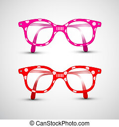 Abstract Vector Funny Red, Pink Glasses with Dots