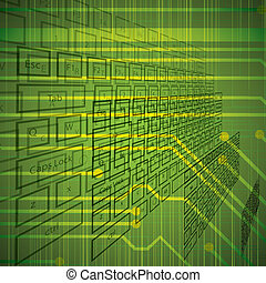 Abstract vector futuristic background green
