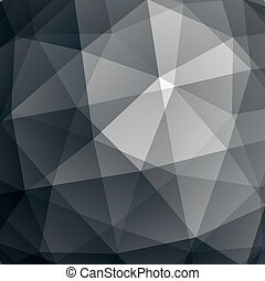 Abstract vector geometric 3D background, grayscale decorative pattern.