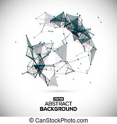 Abstract vector geometric shape with chroma aberration effect. Abstract, geometric, lowpoly background.