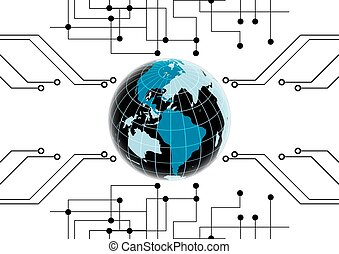 abstract vector globe network technology background illustration
