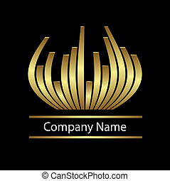 abstract vector gold logo - For business on black gold logo...