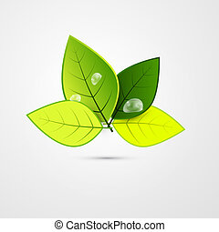 Abstract Vector Green 3d Leaves Isolated on Grey Background