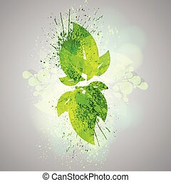 Abstract vector green leaves