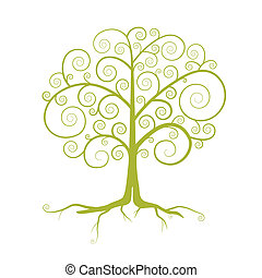 Abstract Vector Green Tree Illustration Isolated on White Background