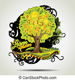 Abstract vector grunge decorative tree.